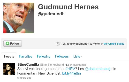Gudmund Hernes Twitter sept 2011