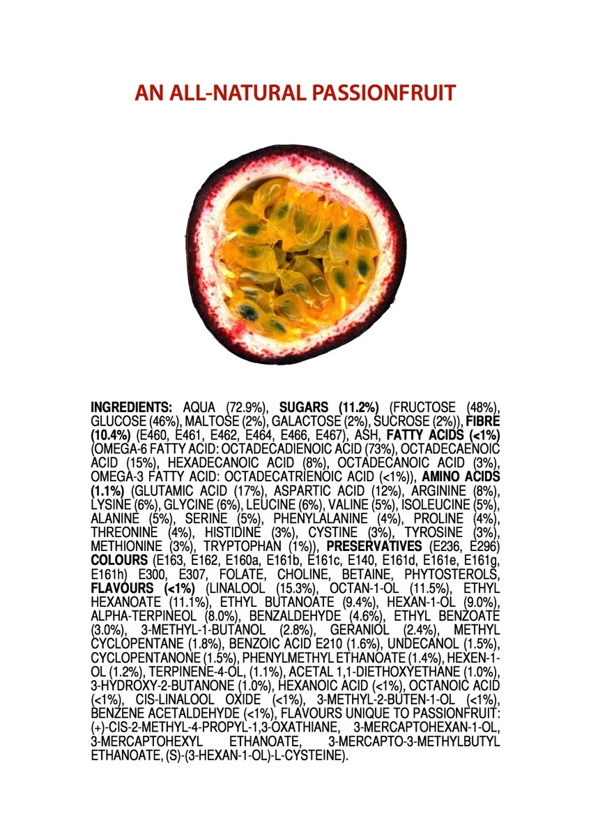 Ingredients of an all natural passionfruit p